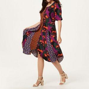NWT LOGO Lori Goldstein Woven Mixed Print Dress 2X